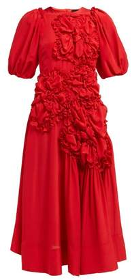Simone Rocha Ruched Silk Crepe De Chine Midi Dress - Womens - Red