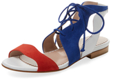 Aperlaï Lace-Up Suede Two-Piece Sandal