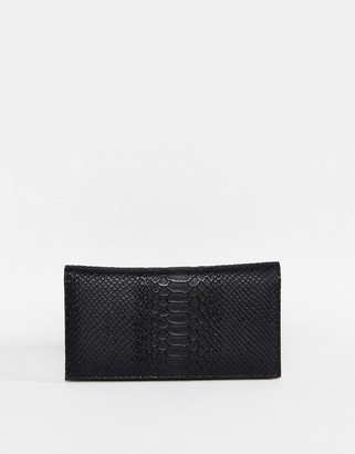 Asos Design DESIGN croc effect foldover purse
