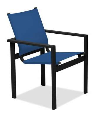 Tribeca Telescope Casual Café Stacking Patio Dining Chair Telescope Casual Cushion Color: Navy, Frame Color: Warm Gray