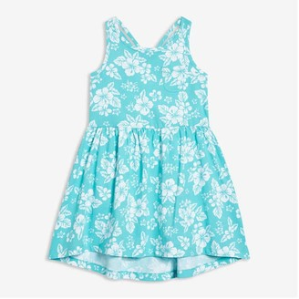 Joe Fresh Kid Girls' Gathered Waist Dress, Turquoise (Size XL)