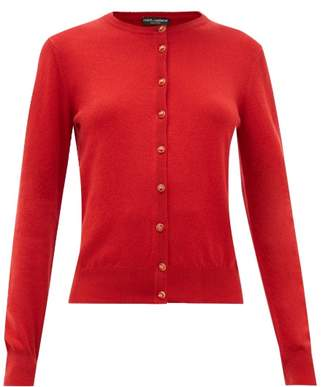 Dolce & Gabbana Crystal-button Cashmere Cardigan - Womens - Red