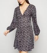 New Look Floral Spot Puff Sleeve Mini Dress