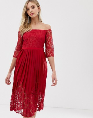 Little Mistress fitted lace bodice off the shoulder mid length sleeves-Red