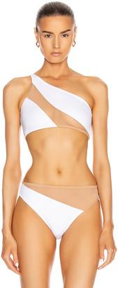 Norma Kamali Snake Mesh Bra Swimsuit in White & Nude Mesh | FWRD