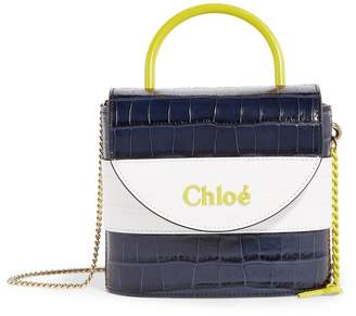 Chloé Small Leather Croc-Embossed Aby Lock Bag