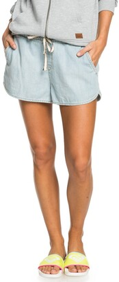 Roxy Back To The Beach Cotton Denim Drawstring Shorts