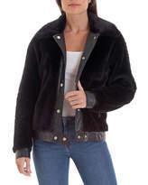 AVEC LES FILLES Faux Fur Trucker Jacket