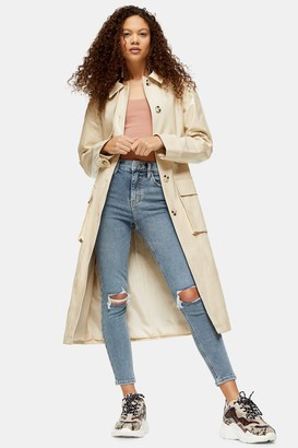 Topshop Womens Petite Blue Ripped Jamie Jeans - Blue