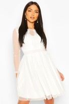 boohoo Mesh Long Sleeve Lace Skater Dress