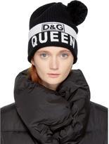 Dolce & Gabbana Black Royal Queen Pom Pom Beanie
