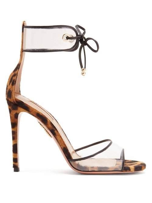 Aquazzura Optic 105 Leopard Print Sandals - Womens - Leopard