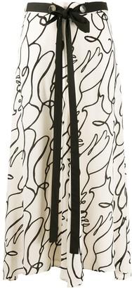 Alysi Abstract-Print Silk Skirt
