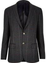 River Island MensDark green check skinny suit jacket