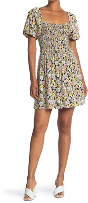 Lush Smocked Sweetheart Mini Dress