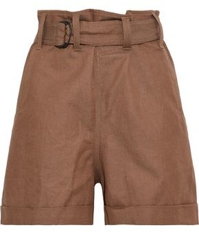Brunello Cucinelli Belted Striped Cotton And Linen-blend Twill Shorts