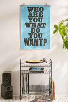 Urban Outfitters Anthony Burrill Who Are You? What Do You Want? Letterpress Poster