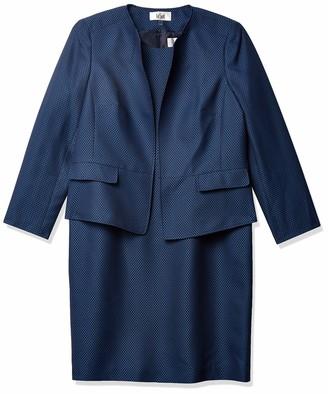 Le Suit LeSuit Women's Jewel Neck Open Jacket DOT Jacquard Sheath Dress Suit