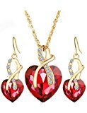 Gift! Gold Plated Jewelry Sets For Women Crystal Heart Necklace Earrings Jewellery Set Bridal Wedding Accessories (Red)