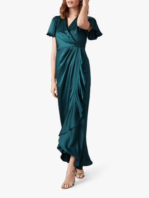 Phase Eight Philippa Frill Maxi Dress, Peacock Green