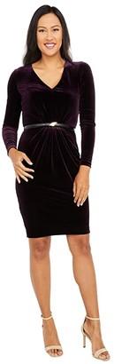 Calvin Klein Long Sleeve Velvet Dress with Belt (Aubergine) Women's Clothing
