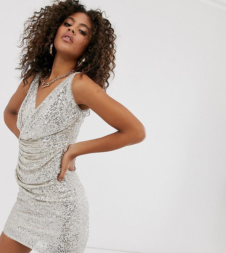 TFNC Tall Tall wrap front sequin mini dress in silver