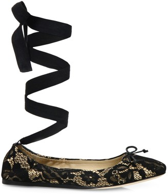 Saks Fifth Avenue Lace Ankle-Wrap Ballet Flats