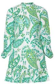 STAUD The Carolina Ls Dress Light In Green Butterfly Paisley - 10