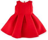 Helena Sleeveless Pleated Shadow Stripe Scuba Dress, Red, Size 12-18 Months