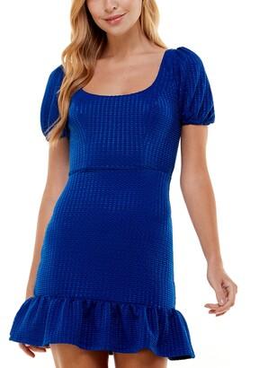 City Studios Juniors' Puff-Sleeve Ruffle-Skirt Dress