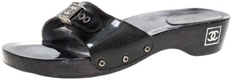 Chanel Black Patent Leather CC Adjustable Buckle Wooden Clog Slides Size 41