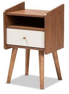Baxton Studio Elario Grey and Walnut Brown Finished Wood 1-Drawer Nightstand