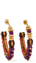 Etro Gold-plated Beaded Hoop Earrings - one size
