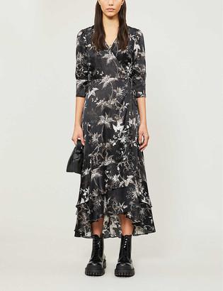 AllSaints Evolution floral-print satin midi dress