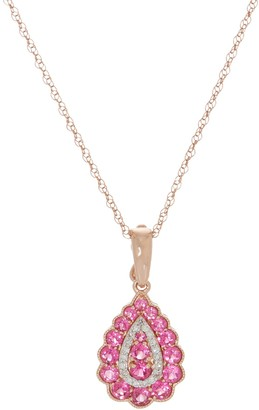 "Tanzanian Pink Spinel Enhancer with 18"" Chain, 14K Gold"