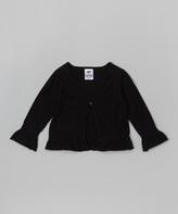 Mulberribush Black Ruffle Cardigan Sweater - Toddler & Girls