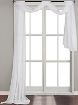 Utopia Bedding Solid White Luxurious Voile Sheer Scarf Valance - Soft Sheer Window Panel Scarves Curtains - 54 Inches Wide by 216 Inches Long - Flowy Design -