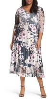 Komarov Plus Size Women's Print Lace & Charmeuse Dress