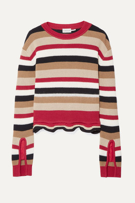 Moncler Striped Cotton Sweater - Red