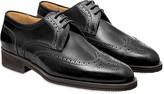 Pakerson Black Italian Handmade Calfskin Lace-Up Shoes