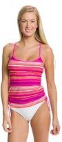 Reebok Fitness Hannah Stripe Side Shirred Tankini Top 7539358