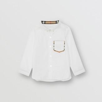 Burberry Childrens Check Detail Cotton Oxford Shirt