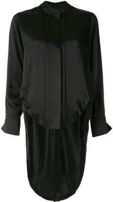 Alexis Tail-Hem Collarless Shirt