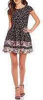 B. Darlin Floral Cap Sleeve Striped Skirt Skater Dress