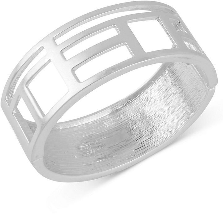 Kenneth Cole New York Bracelet, Silver-Tone Geometric Cut-Out Hinged Bangle Bracelet
