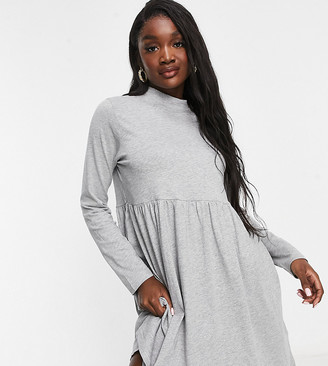 Brave Soul Tall lizzie high neck smock dress in grey