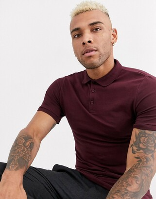 Asos DESIGN organic muscle fit polo in burgundy
