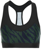 The Upside Chrissy Printed Stretch-jersey And Mesh Sports Bra - Emerald