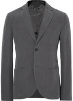 Giorgio Armani Grey Tokyo Slim-Fit Slub Linen and Mulberry Silk-Blend Blazer