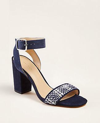 Ann Taylor Corey Tweed Block Heel Sandals